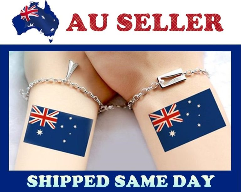, 16x New Australia Day Party Waterproof Temporary Tattoos Australian Flag Tattoo, Zmart Australia