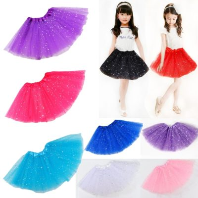 Sequin Tulle Tutu Skirt Ballet Kids Princess Dressup Party Baby Girls Dance Wear