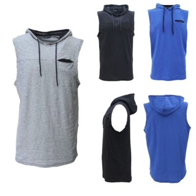 Men's Sleeveless Hoodie Top w Pocket Hooded Gym Muscle Vest Singlet Hoody Cotton