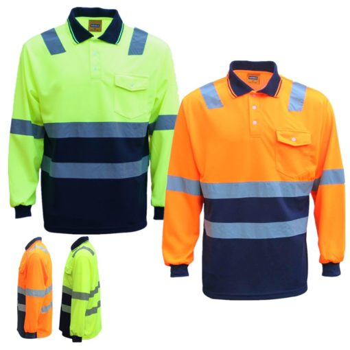 , HI VIS Long Sleeve Workwear Shirt w Reflective Tape Cool Dry Safety Polo 2 Tone, Zmart Australia