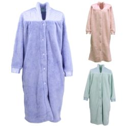 Women's Ladies Supersoft Button Up Dressing Gown Bath Robe w Quilted Panel Warm