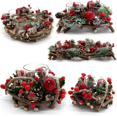 Christmas Berry Pine Leaves Holly Wreath Candle Holder w Glass Table Xmas Décor