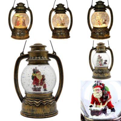 Christmas LED Light Metal Lantern Xmas Snow Santa Water Globe Glitter Confetti