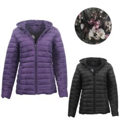 Womens Hooded Puffer Jacket Quilted Padded Puffy Amethyst Coat w Removable Hood