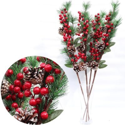 4x 70cm Christmas Holly Artificial Flower Berry Pine Needles Cones Branch Picks