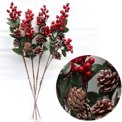 4x62cm Christmas Holly Artificial Flower Red Berry Pine Cones Branch Pick Wreath