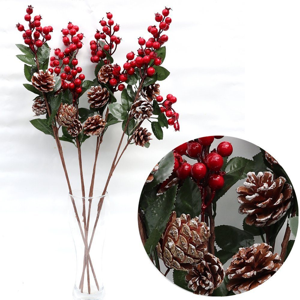 , 4x62cm Christmas Holly Artificial Flower Red Berry Pine Cones Branch Pick Wreath, Zmart Australia
