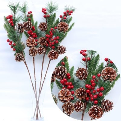 4x65cm Christmas Red Berry Artificial Flower Branch Leaves Pinecones Holly Décor