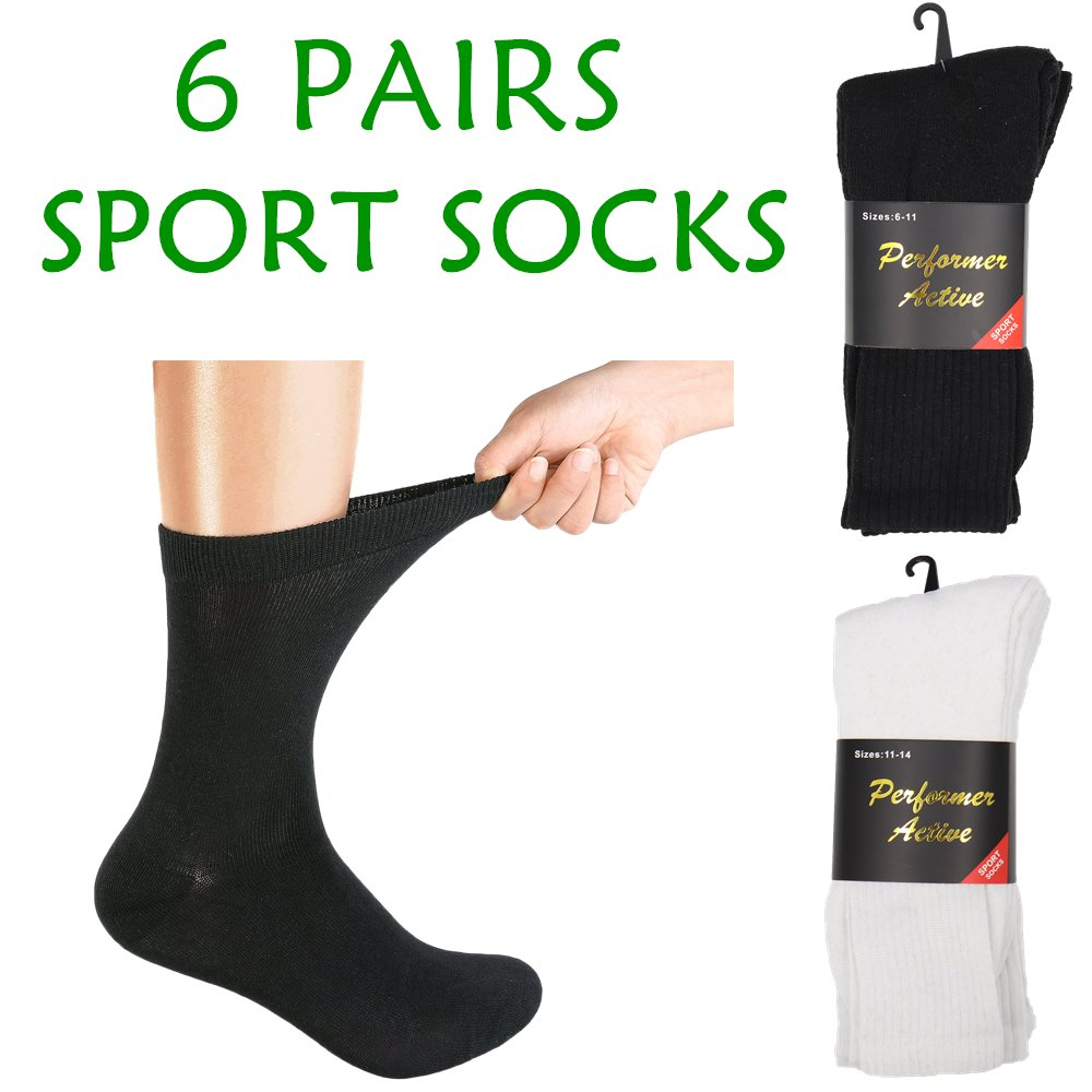 , 6 Pairs Men's Breathable Work Sport Socks Heavy Duty Thick Cotton Blend Cushion, Zmart Australia