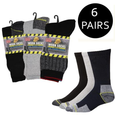 6 Prs Thick Men's Work Socks Tradies Choice Heavy Duty Cotton Blend Boot Cushion