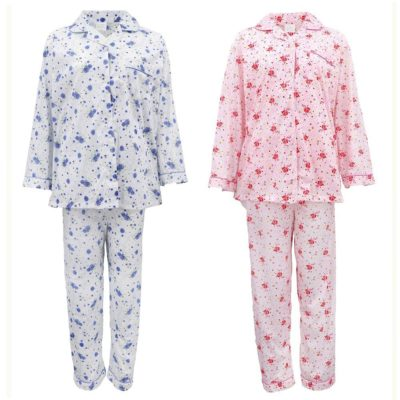Women's 100% Cotton Long Sleeve Nightie Gown Night Sleepwear PJ Pajamas Pyjamas