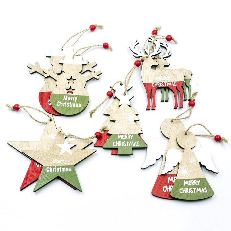 10x Christmas Natural Wood Tree Pendant Hanging Ornaments Xmas Home Party Decor