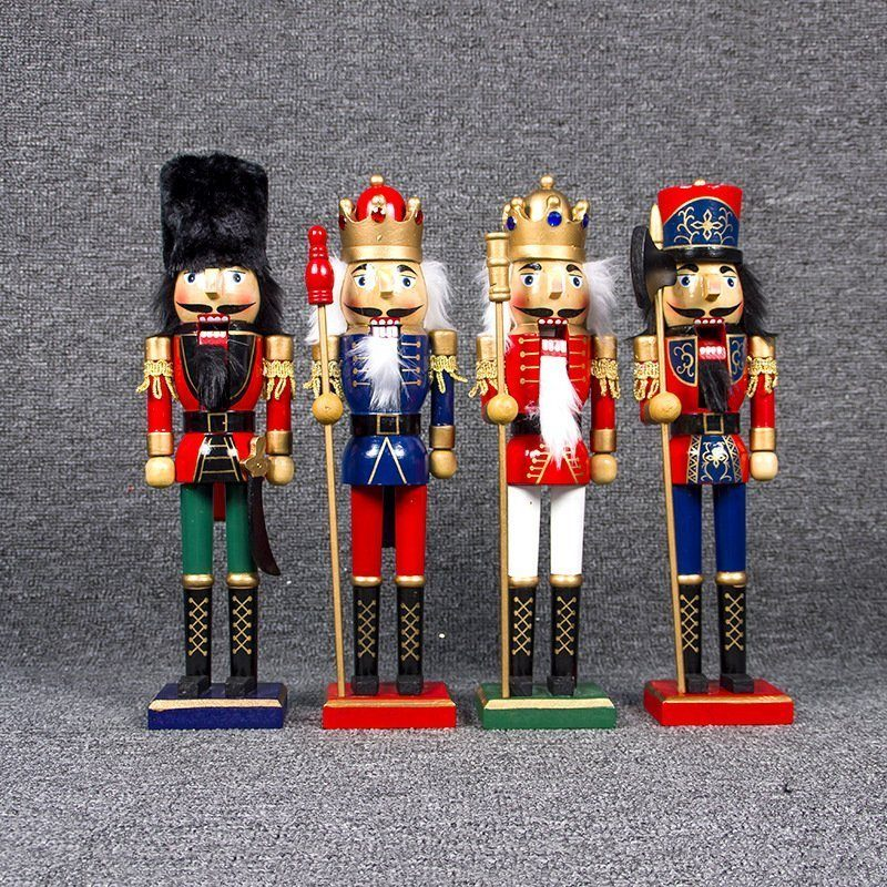 """38cm 15"""" Christmas Wooden Nutcracker Soldier Guard Figure Statue Puppet Toy Gift"""