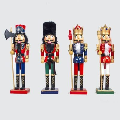 "38cm 15"" Christmas Wooden Nutcracker Soldier Guard Figure Statue Puppet Toy Gift"