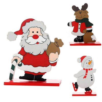 3PCS Christmas Wooden Table Stand Décor Ornament Santa Reindeer Home Party Xmas