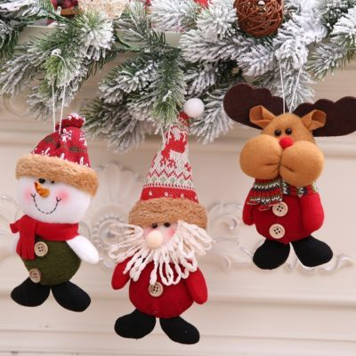 3x Christmas Tree Plush Hanging Pendants Santa Xmas Ornaments Kid Toy Gift Décor