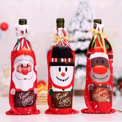 3x Christmas Wine Bottle Drink Cover Gift Bag Holder Santa Xmas Table Home Décor