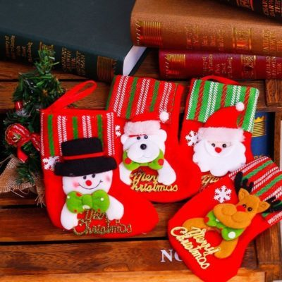 4x Christmas Felt Stocking Tree Hanging Sock Xmas Plush Candy Gift Bags Décor