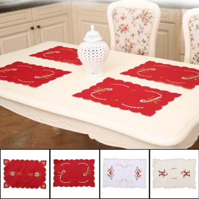 4x Christmas Table Place Mats Cloth Runner Dinner Desk Cover Santa Xmas Décor