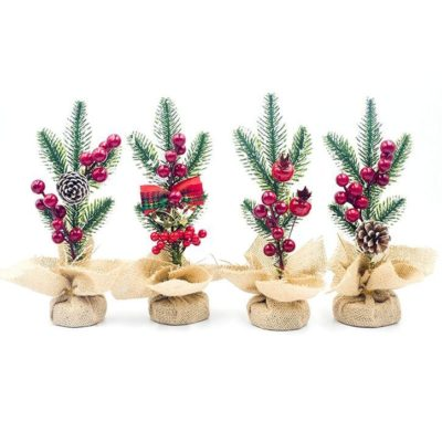 4x Christmas Trees Berry Pine Cones w Burlap Pot Cover Xmas Table Top Desk Décor