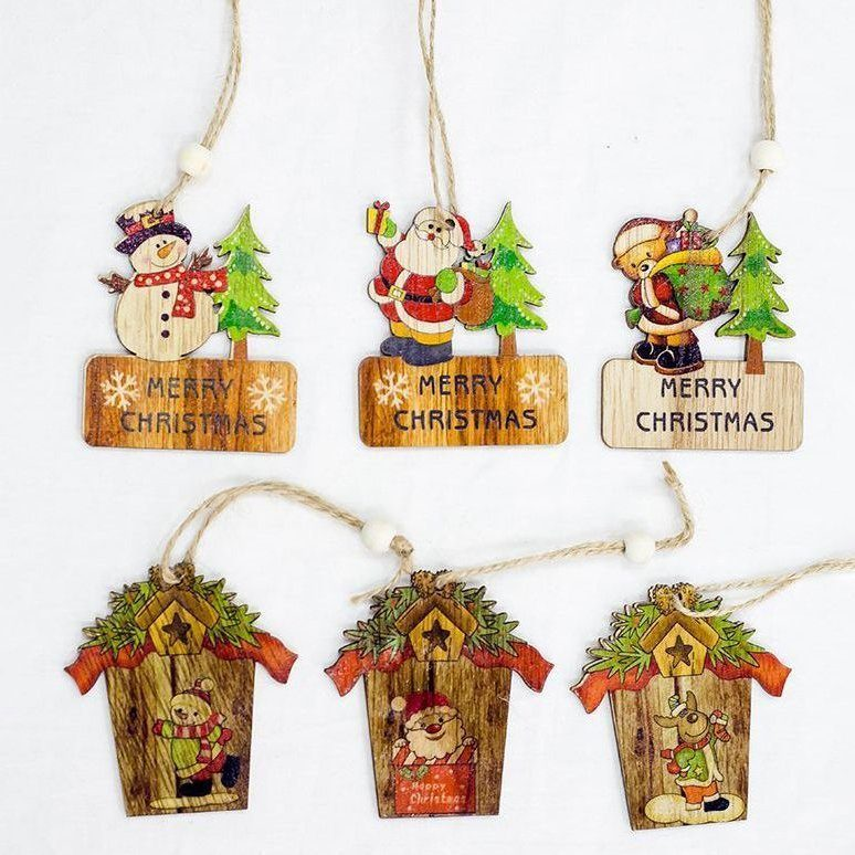 6x Christmas Tree Pendant Natural Wooden Hanging Ornaments Xmas Home Decoration