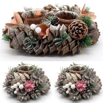 Christmas Candle Holder w Glass Snow Pine Cones Leaves Holly Wreath Table Décor