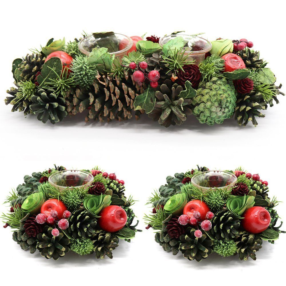 , Christmas Glass Candle Holder Red Berry Pine Leaves Apple Cones Table Xmas Décor, Zmart Australia