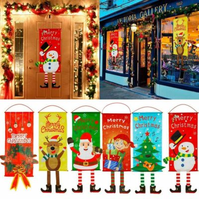 Christmas Hanging Banner Flag Door Window Décor Santa Reindeer Snowman Ornaments