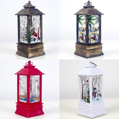 Christmas Metal Lantern Xmas Candle Light Lamp Santa Vintage Party Hanging Décor