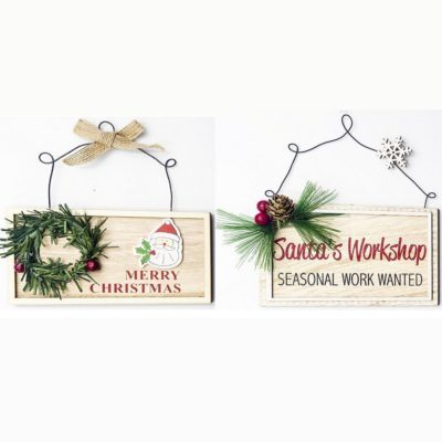 Christmas Wooden Hanging Plaque Sign w Wreath Berry Tree Door Wall Pendant Décor