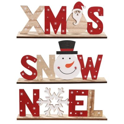 Christmas Wooden Table Stand Sign Plaque Ornament Santa Snowman Party Xmas Décor