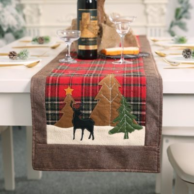 New Christmas Premium Felt Table Runner Reindeer Tree Cloth Mat Desk Cover Décor