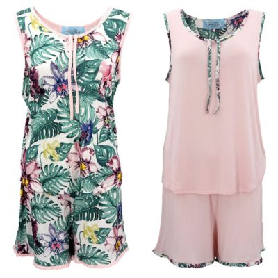 Women's Frilled Boxer And Singlet Pajamas PJ Set Sleeveless Shirt Shorts Nightie