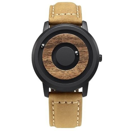 New Mens Innovative Wooden Magnetic Quartz Sports Watch Steel Leather Strap Gift