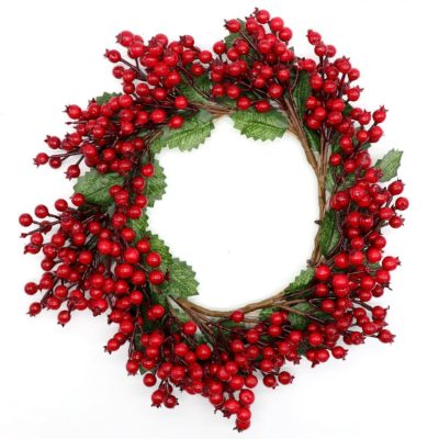 "48cm 19"" New Christmas Door Wreath Garland Red Berry Leaves Xmas Wall Tree Décor"