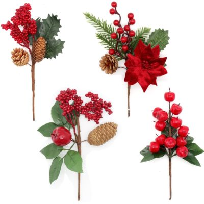 4x 25cm Christmas Red Berry Pine Cones Holly Leaves Cranberry Picks Branch Décor