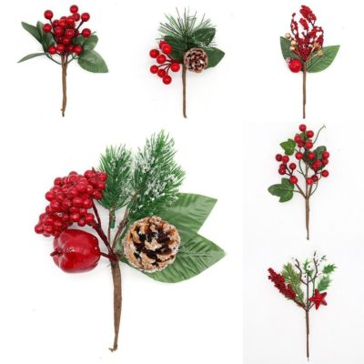 6x Christmas Red Berry Holly Leaves Pine Cones Cranberry Picks Branch Home Décor