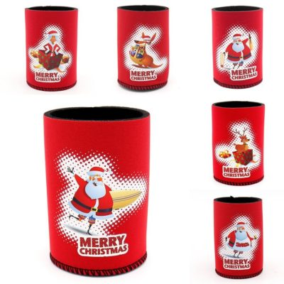 6x Christmas Stubby Stubbie Holders Beer Bottle Drink Can Cooler Santa Reindeer