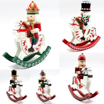 "30cm 12"" Christmas Wooden Nutcracker Soldier Puppet Rocking Horse Xmas Ornament"