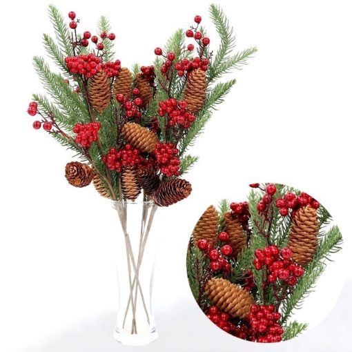 4x 53cm Christmas Artificial Flowers Branch w Red Berry Pine Cones Leaves Holly