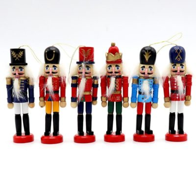 6x 12cm 4.7″ Christmas Wooden Hanging Nutcracker Soldiers Pendant Decor Ornament
