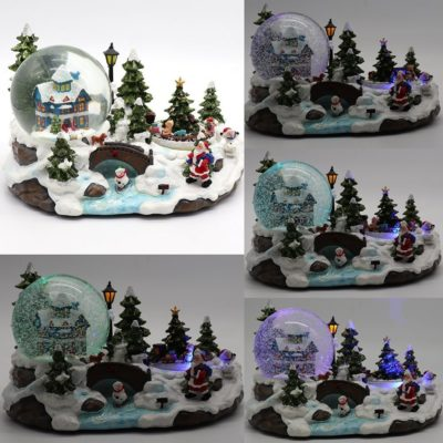 Christmas Musical Santa House Train Rotating Snow Globe Water Crystal Xmas Ball