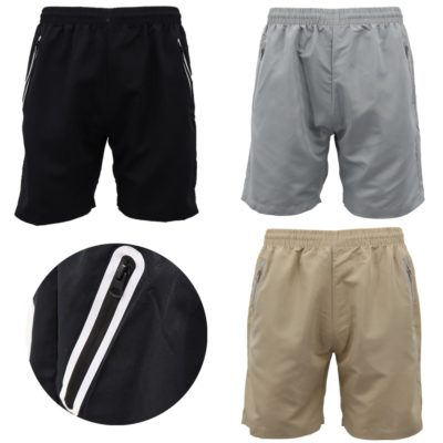 Men's Basketball Gym Casual Swimming Shorts Sports Drawstring Pants Zip Pockets