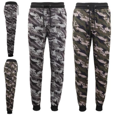 Men's Fleece Track Pants Military Camouflage Tactical Sport Trousers Cuffed Hem