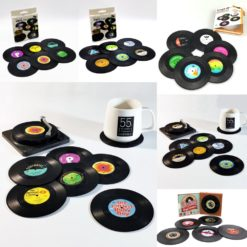 6x Creative Vinyl Record Cup Coasters w Holder Glass Drink Tableware Home Décor