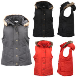 Women's Puffy Puffer Sleeveless Jacket Vest Quilted Waistcoat w Plush Fur Hooded