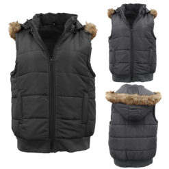 Womens Zip Up Puffy Puffer Jacket Plush Fur Hooded Quilted Vest Waistcoat Hoodie