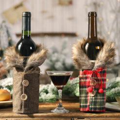2x Christmas Wine Bottle Drink Cloth Cover Wrap Bag Xmas Table Home Decoration