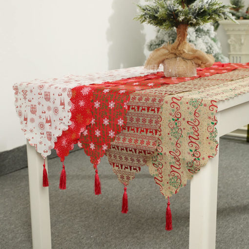 35x180cm New Christmas Table Runner Cloth Tableware Xmas Dining Party Decoration