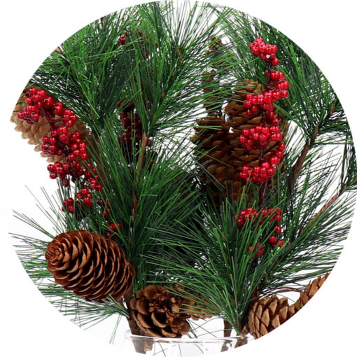 4x 52cm Christmas Artificial Flower Holly Red Berry Pine Tree Cone Leaves Branch